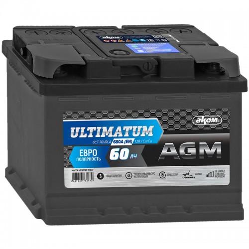 Аккумулятор AKOM Ultimatum AGM / 60Ah / 680А / Обратная полярность / 278 x 175 x 190