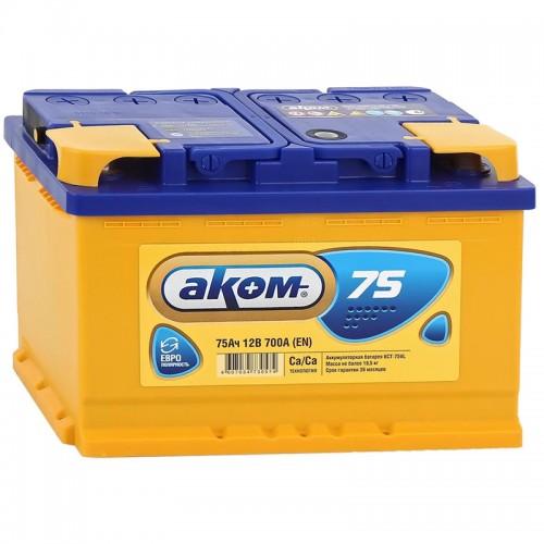 Аккумулятор AKOM Total / 75Ah / 700А / Обратная полярность / 278 x 175 x 190