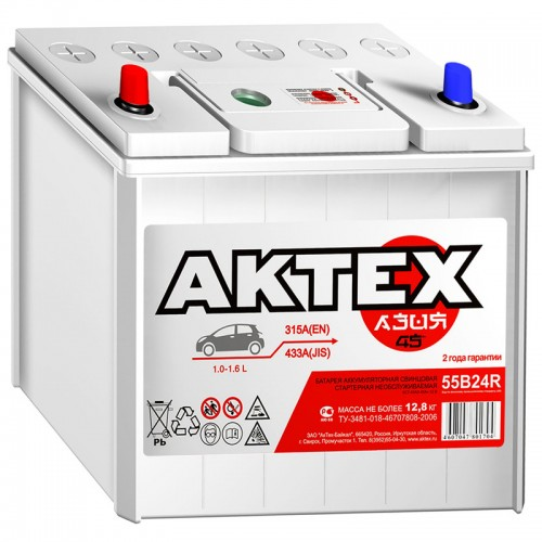 Аккумулятор АкТех 55B24R-6СТ-45 АЗ / 45Ah